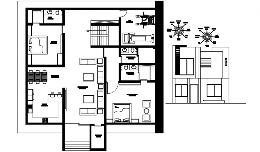Front elevation of bungalow with its layout plan