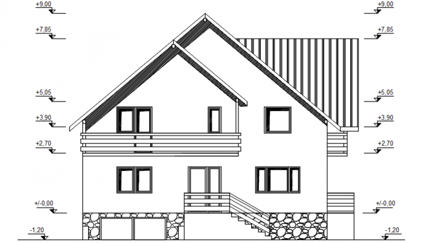 Front elevation of house in AutoCAD file