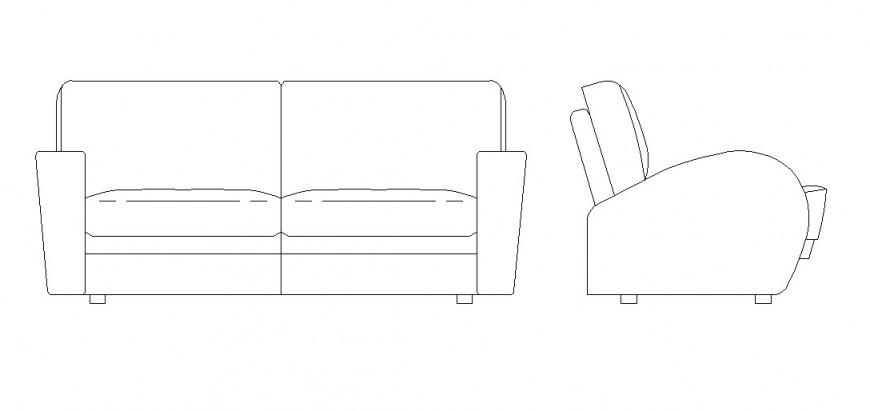 Front elevation sofa plan detail