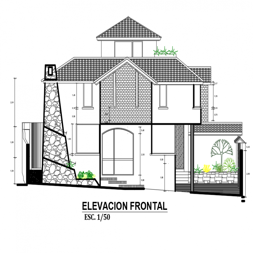 Front elevation view of cottage one family house dwg file