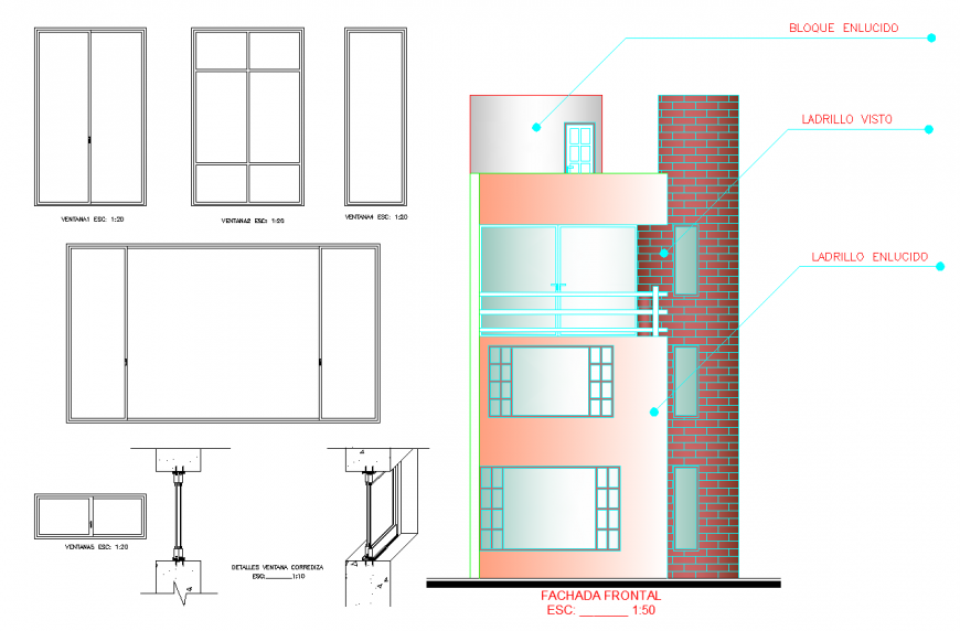 Front facade detail drawing of house in dwg file.