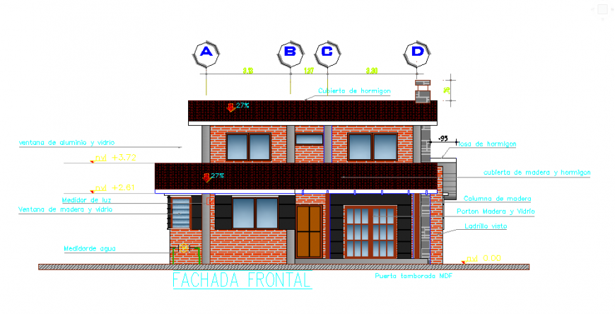 Front main elevation design of small type living place design drawing