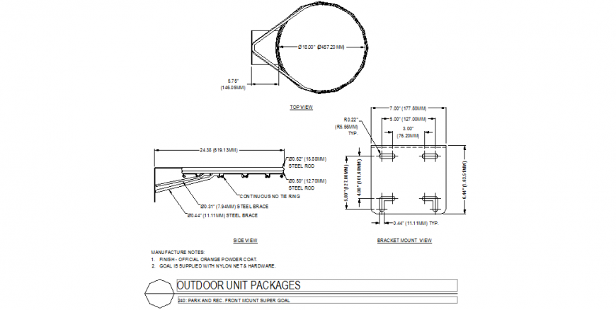 Front mount super gold system design with a plan and side view dwg file