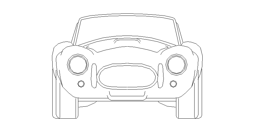 Front of the car in vehicle block dwg file