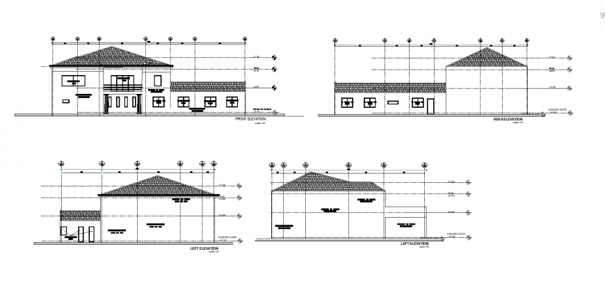 Front rear and left elevation of house design with architecture detail dwg file