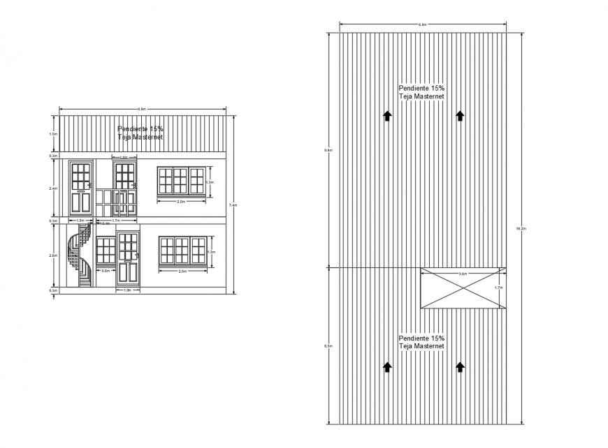 Front section and site plan drawing details of two story house dwg file