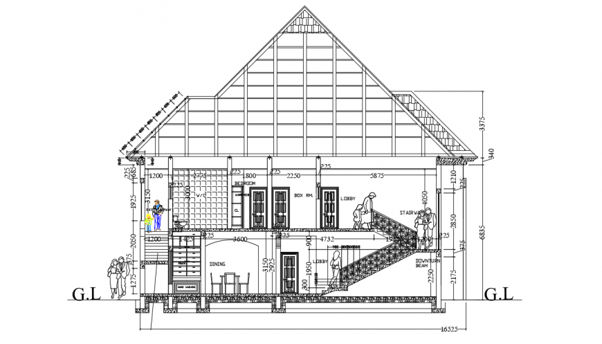 Front section details of luxurious duplex house dwg file