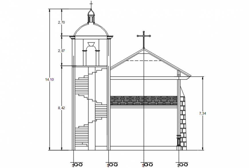 Front section drawing details of religious church dwg file