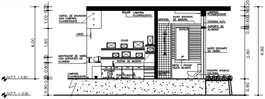 Front section drawing details of tourism office dwg file