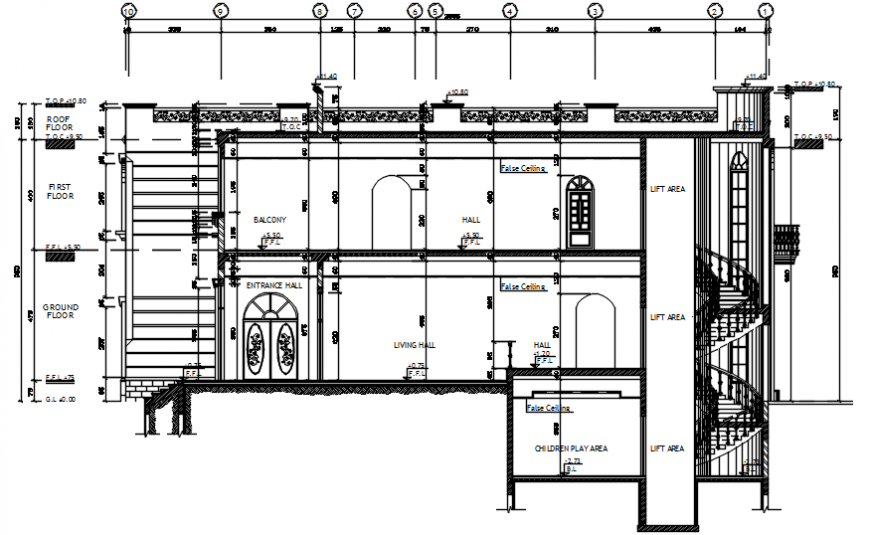 Front sectional drawing details of luxuries villa dwg file