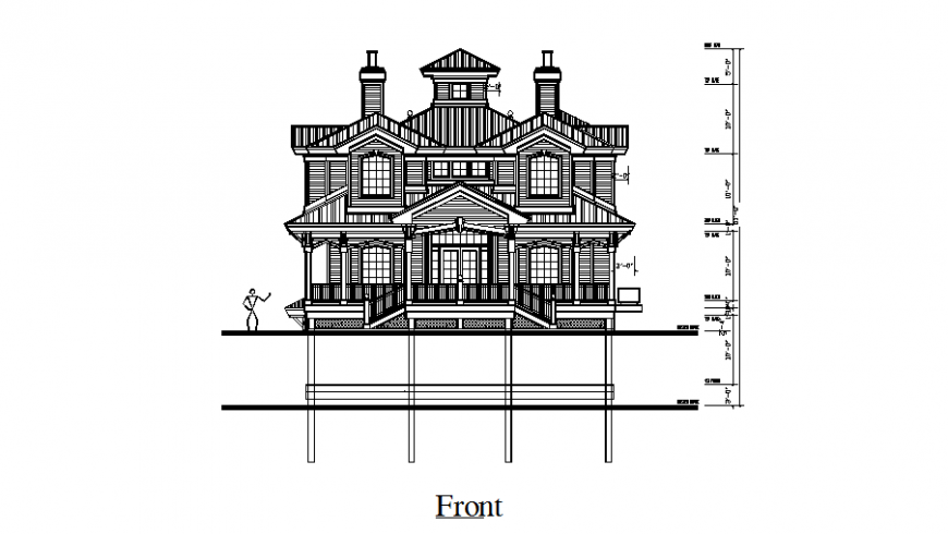Front view of bungalows in auto cad file