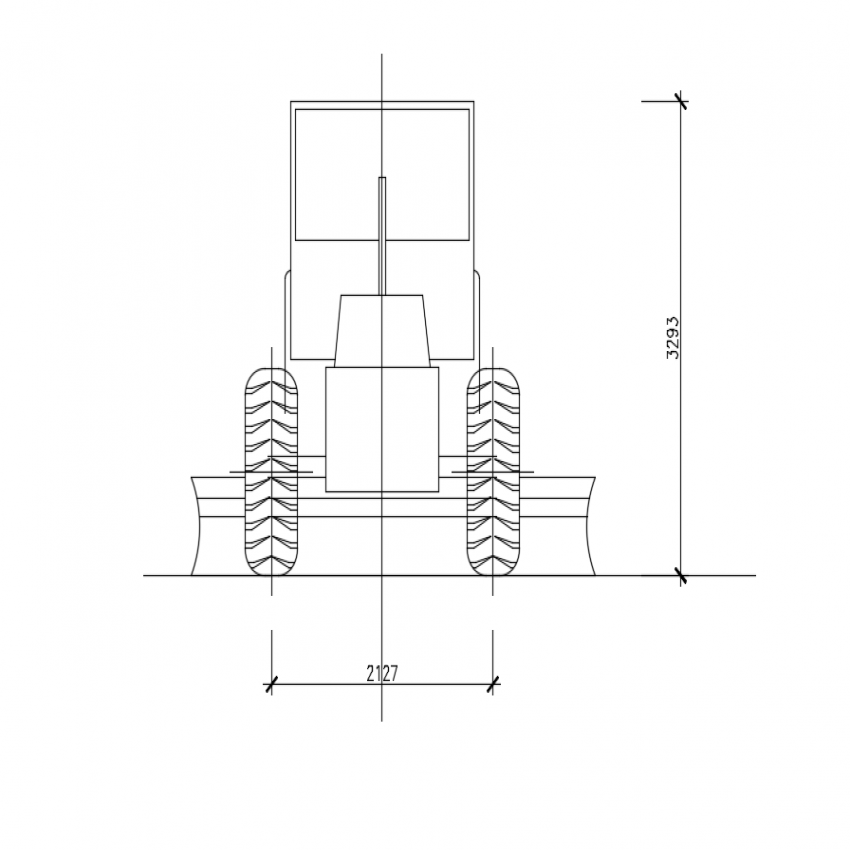 Front view of mining vehicle cad block design dwg file