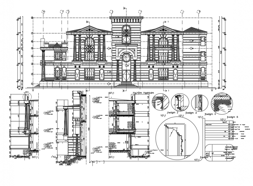 Front view of villa elevation dwg file