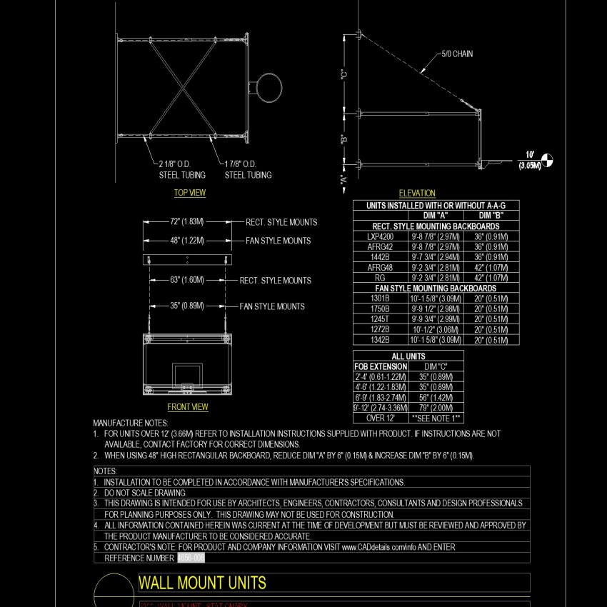 Front view Wall mount units autocad file