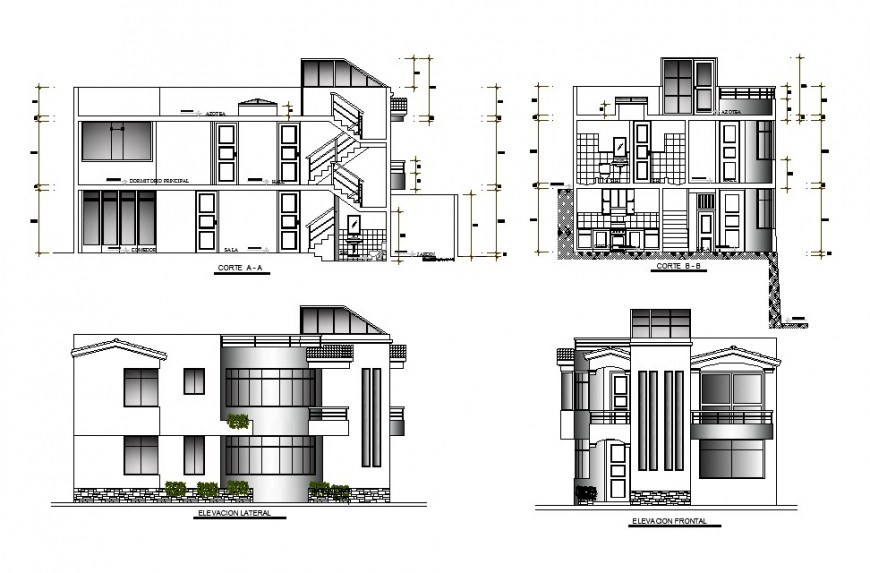 Frontal and lateral elevation and sectional details of housing square dwg file