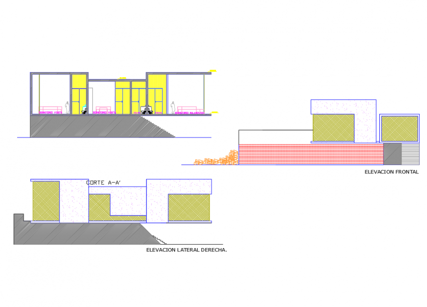 Frontal and lateral elevation details of beach house with facade section dwg file