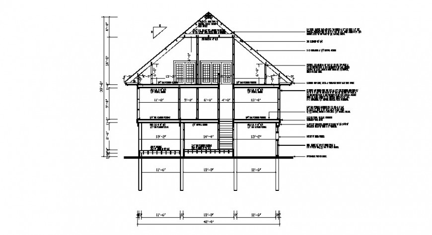 Frontal constructive sectional drawing details of house dwg file