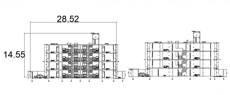 Frontal elevation and section drawing details of multi-family building dwg file