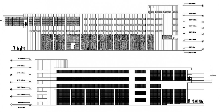 Frontal main and back elevation drawing details of luxuries hotel building dwg file