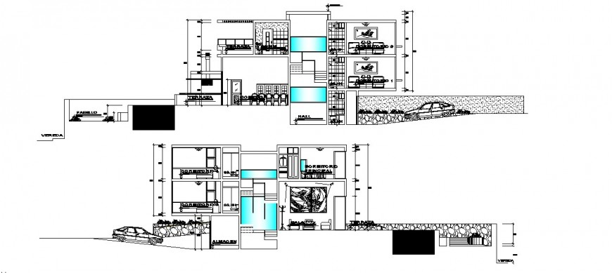 Frontal main and back sectional drawing details of modern bungalow dwg file