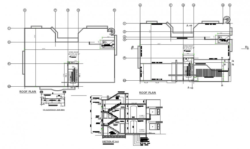Frontal section, roof plan and structure details for house dwg file