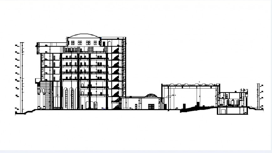 Frontal section drawing details of multi-familiar apartment building dwg file