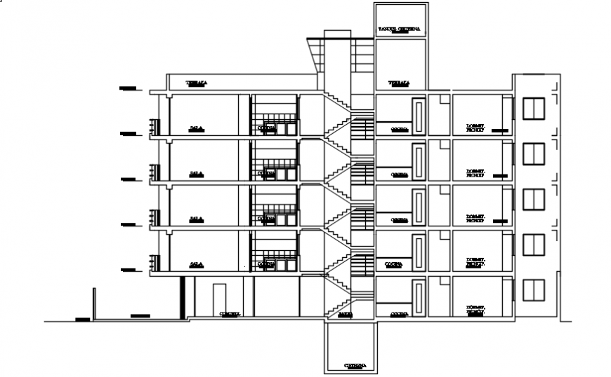 Frontal section drawing details of residential flats building dwg file