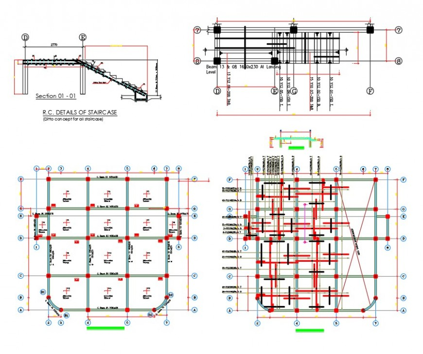 Full concrete structural drawing of are side building dwg file