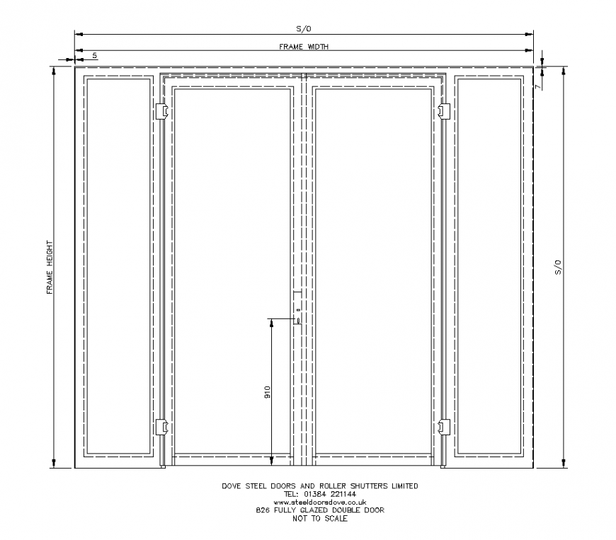 Fully glazed double door CAD block detail 2d view layout file
