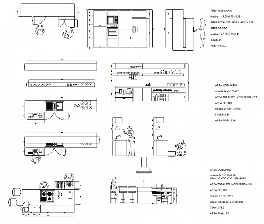 Functionality kitchen several details detail 2d view layout autocad file