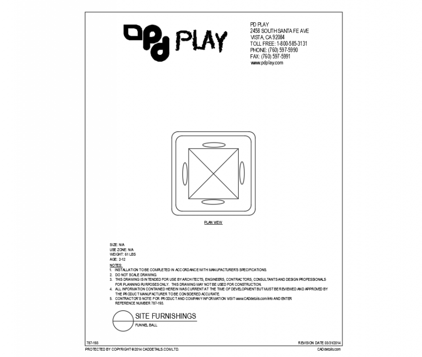 Funnel ball play equipment plan view of village park dwg file