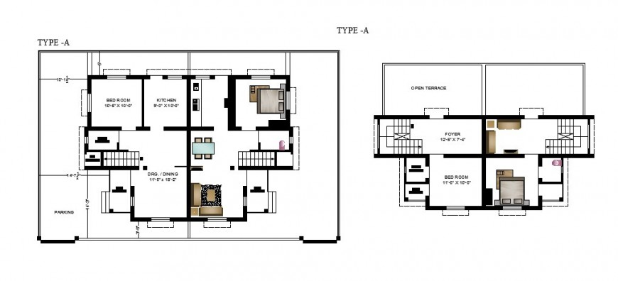 Semi-Furnished house plan drawing in this autocad file