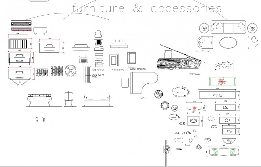 Furniture and accessories plan autocad file