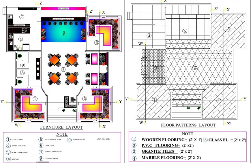 Furniture and floor patterns hotel autocad file