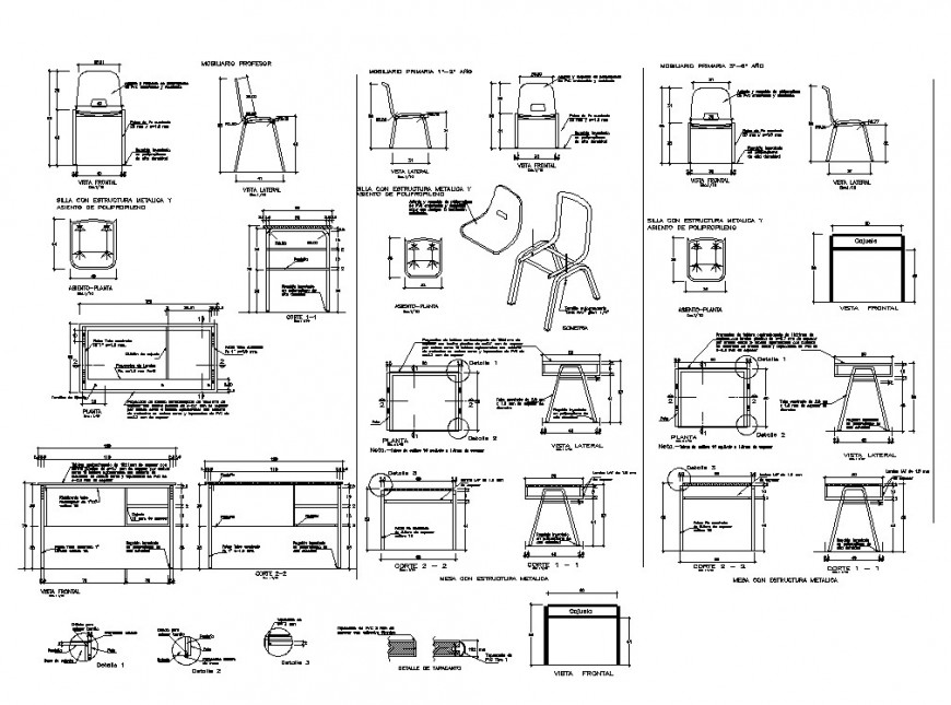 Furniture blocks detail 2d view layout file in autocad format