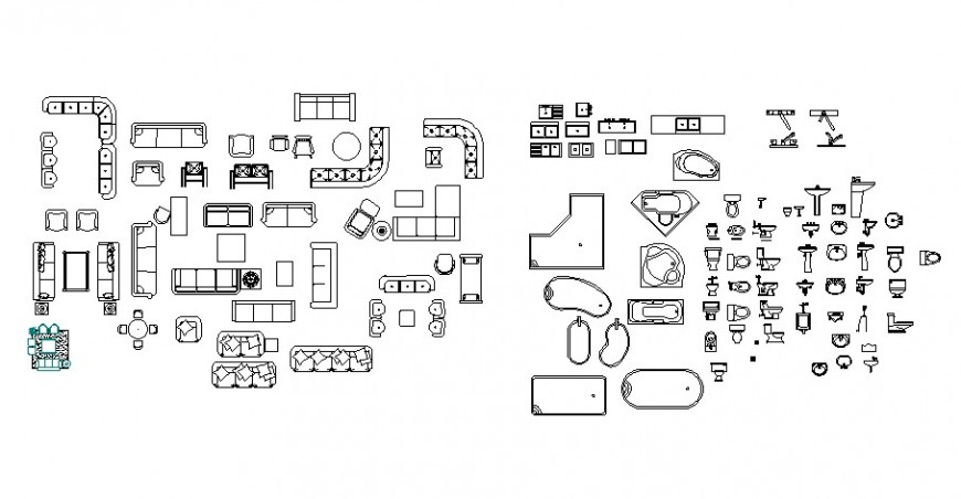 Furniture blocks details and sanitary units drawing autocad file