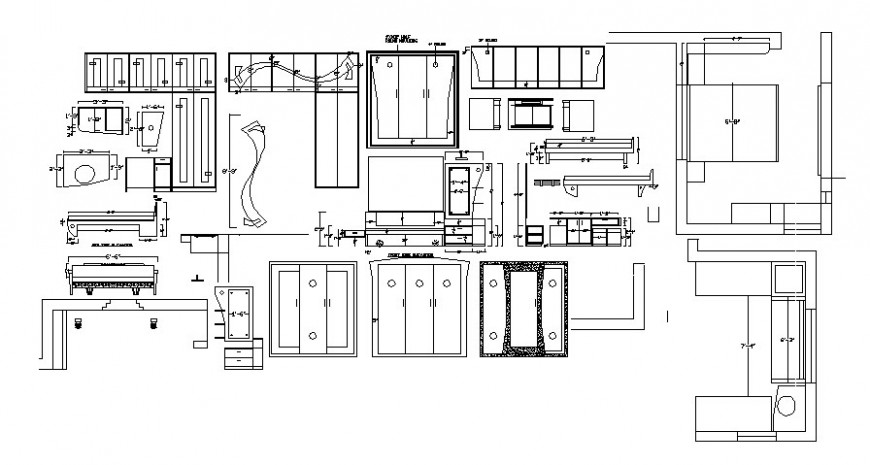 Furniture blocks details of bedroom and drawings room autocad file