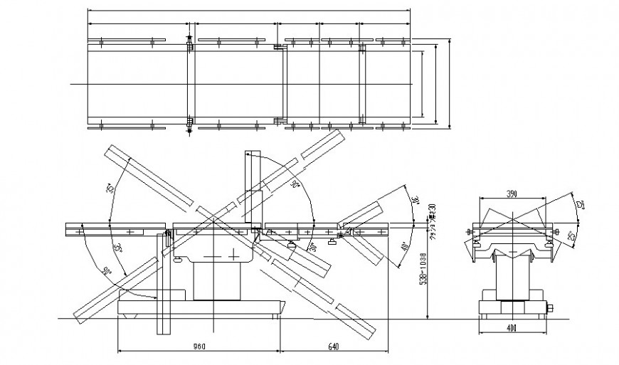 Furniture blocks drawings of stretcher bed 2d view in dwg format