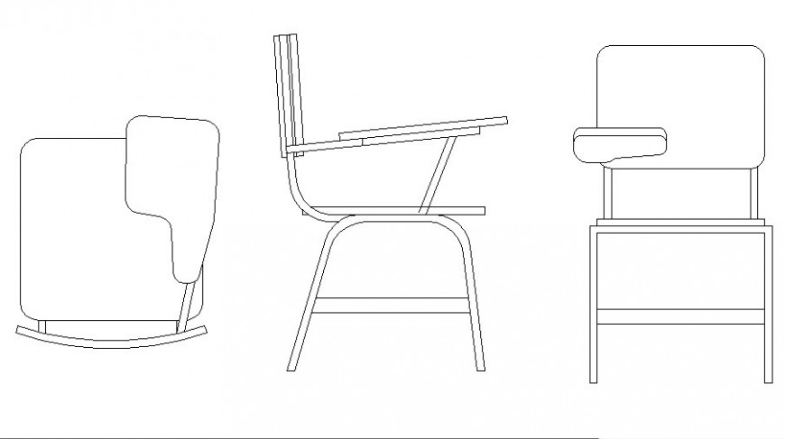 Furniture chair 2d view drawing in autocad