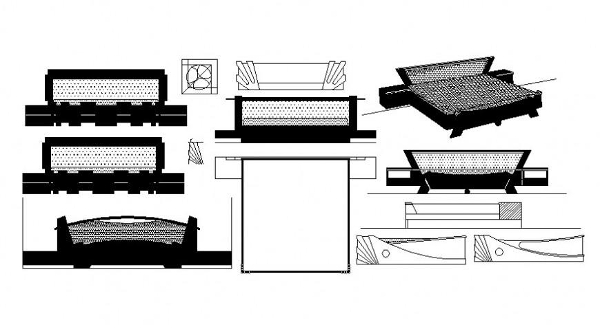 Furniture design details of double bed elevation autocad file