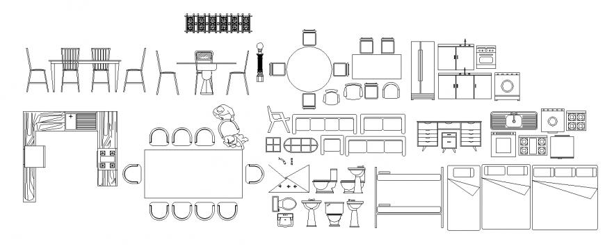 Furniture detail block drawing in dwg file.