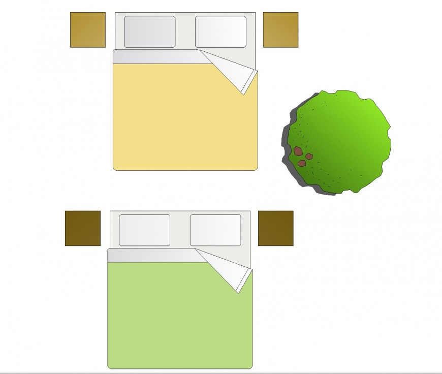 Furniture detail in Bed elevation plan autocad file