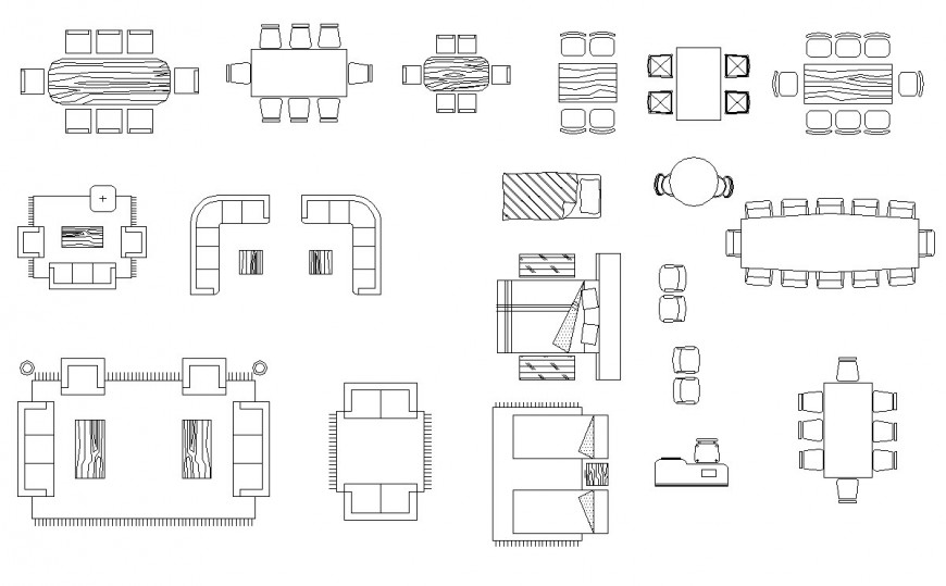 Furniture different block in auto cad