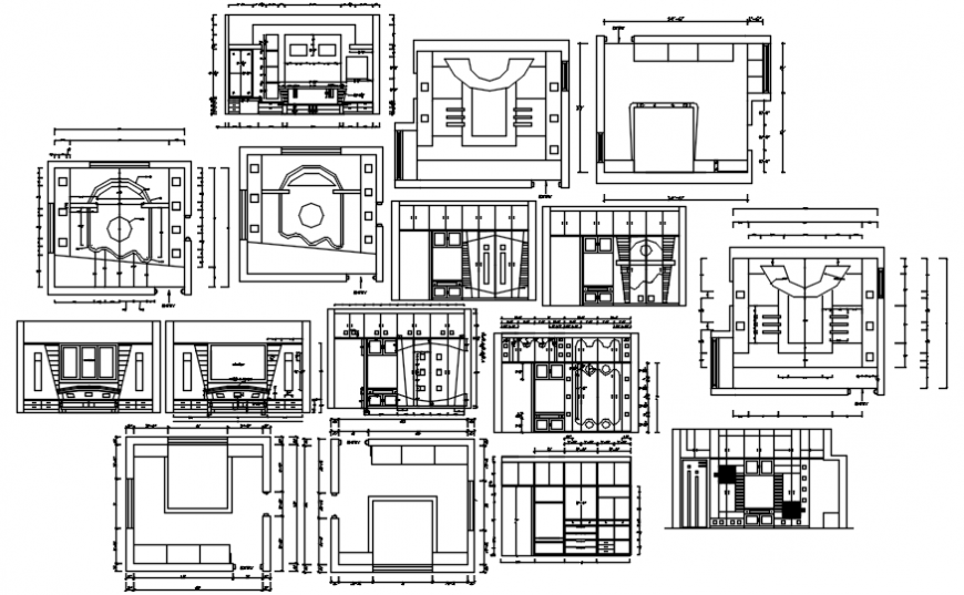 Furniture elevations and carpentry and ceiling details for house dwg file