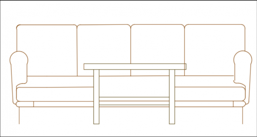 Furniture home sofa and coffe table elevation