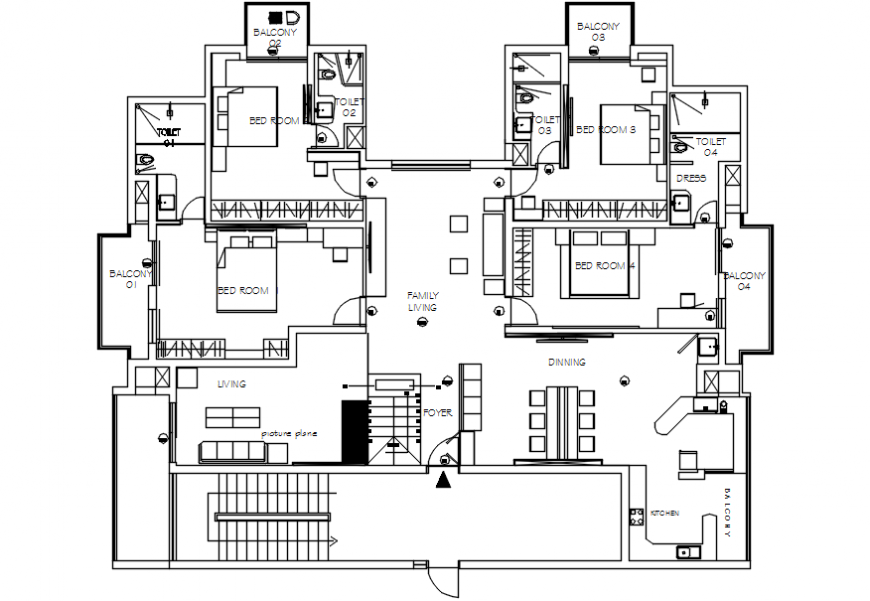 Furniture layout and plan drawing details of one family house dwg file