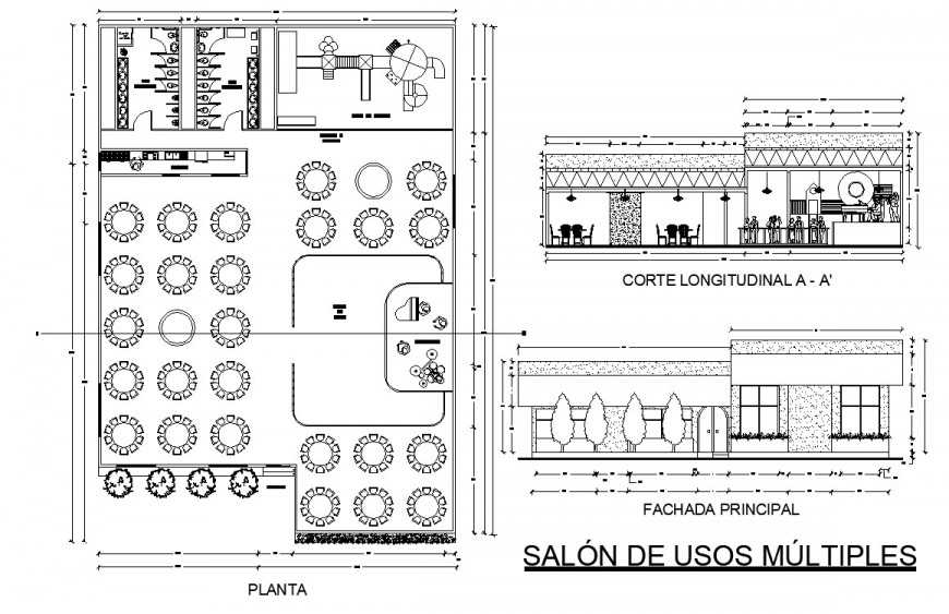 Furniture layout and working drawing of restaurant in dwg file.