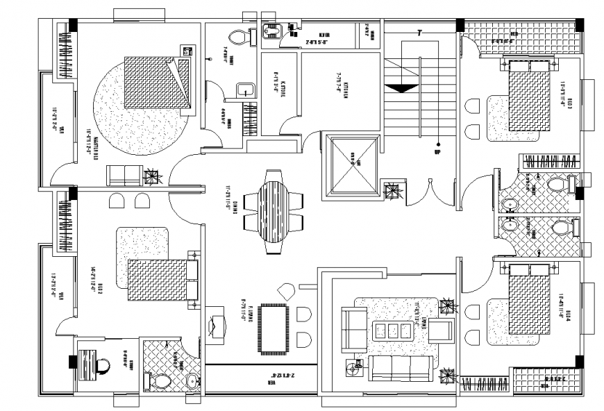 Furniture layout of the house in dwg AutoCAD file.