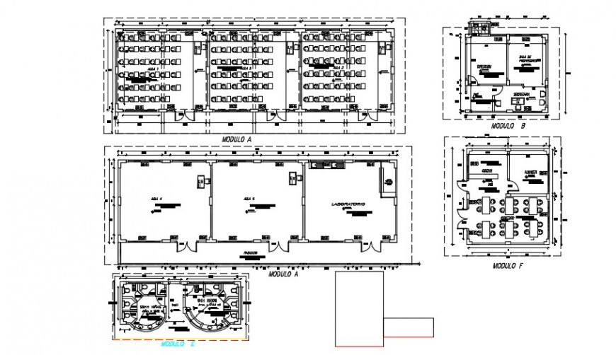 Furniture layout plan of a auditorium and classroom detail dwg file
