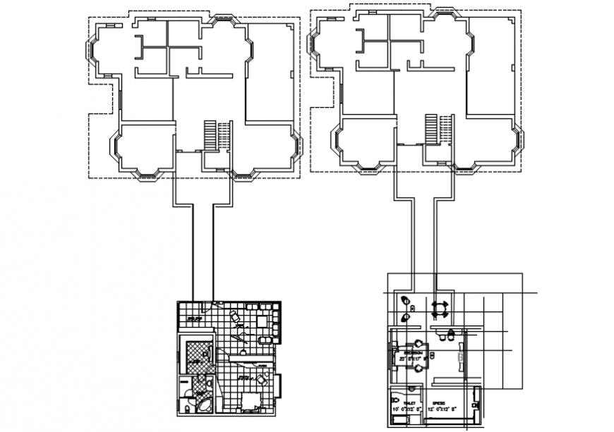 Furniture layout plan top view